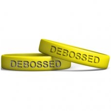 yellow 13mm debossed wristband manufacturer